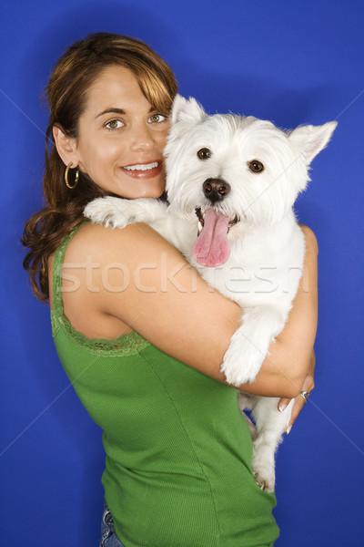 Foto stock: Mujer · blanco · terrier · perro · caucásico