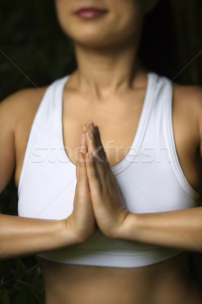 Stock fotó: ázsiai · nő · meditál · portré · amerikai · fitnessz