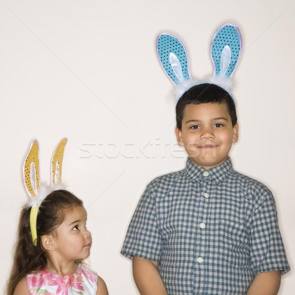 дети Bunny ушки Hispanic девушки Сток-фото © iofoto