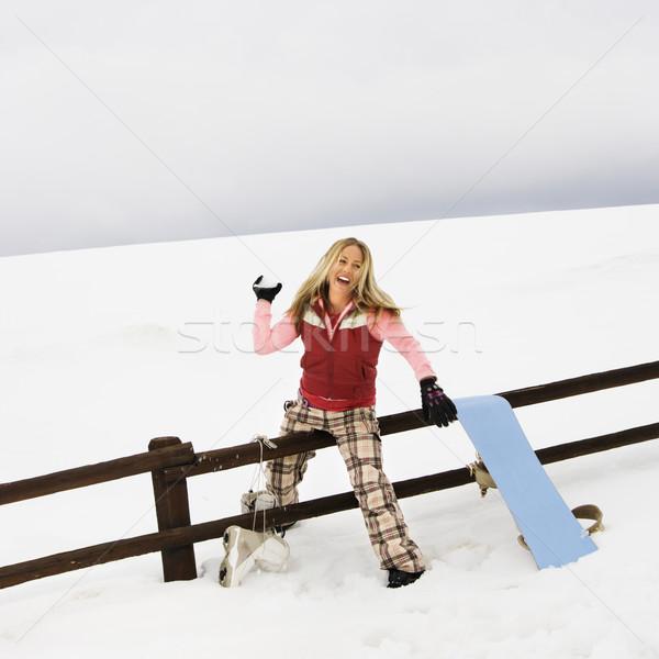 Donna palla di neve inverno vestiti Foto d'archivio © iofoto