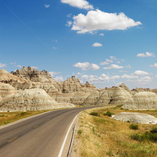 Kuzey Dakota manzaralı park yol dağlar kare Stok fotoğraf © iofoto