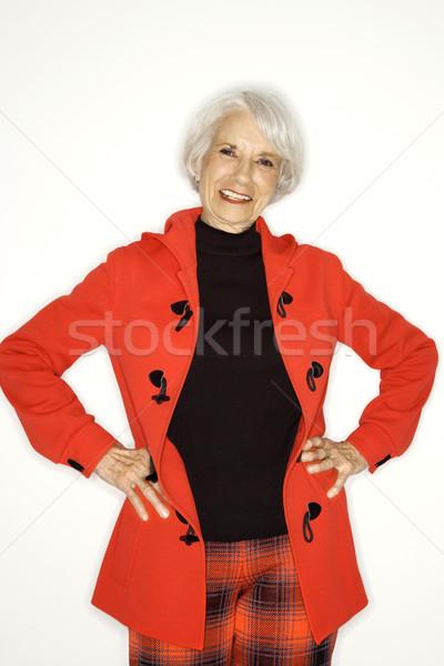 Portré boldog nő kaukázusi középkorú felnőtt női Stock fotó © iofoto