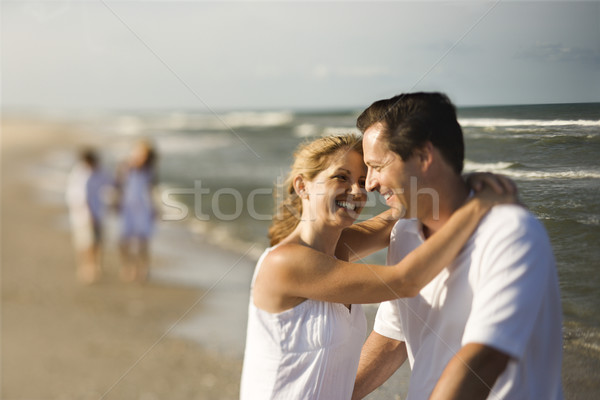 Foto stock: Família · praia · mãe · pai · humor · crianças