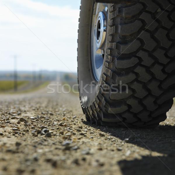 Teherautó autógumi út alulról fotózva kilátás nagy Stock fotó © iofoto