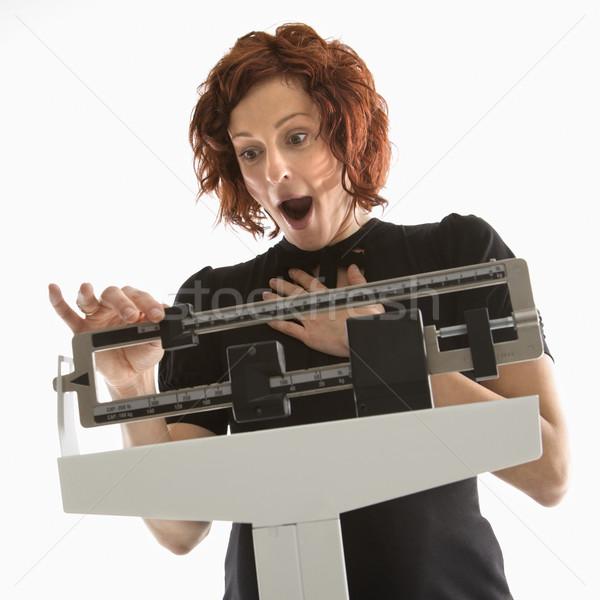 Photo stock: Femme · enceinte · poids · enceintes · femme · étonné