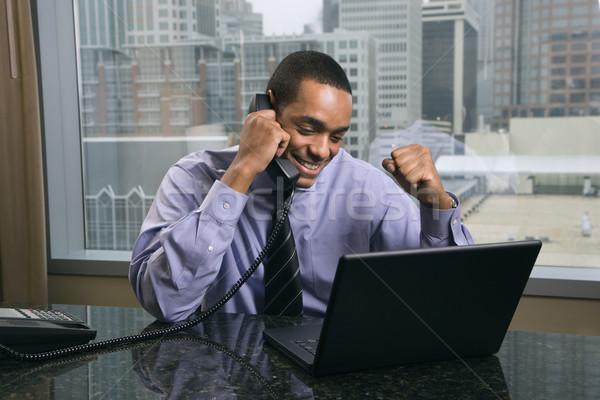 Happy and Excited Businessman Stock photo © iofoto
