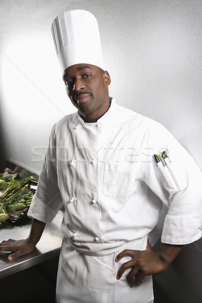 Portré szakács férfi visel hagyományos egyenruha Stock fotó © iofoto