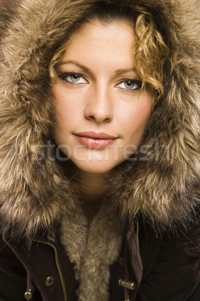 Woman with fur hood. Stock photo © iofoto