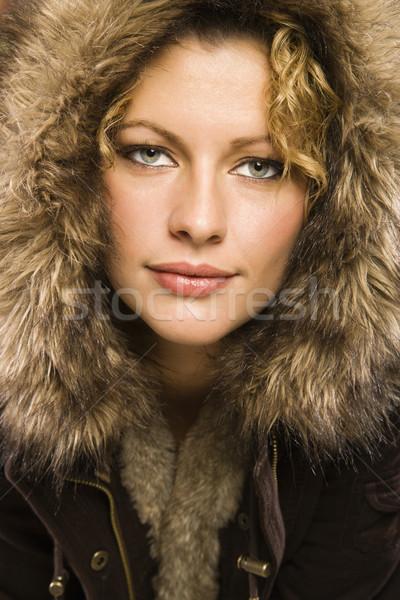 женщину мех кавказский пальто Сток-фото © iofoto