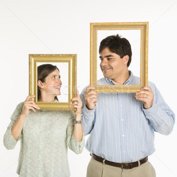Stok fotoğraf: çift · kareler · adam · kadın · bakıyor · boş