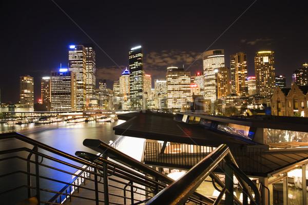Noche horizonte Sydney Australia paisaje urbano edificios Foto stock © iofoto