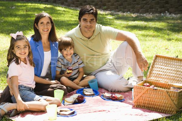 Aile koyu esmer park gülen kadın gülümseme Stok fotoğraf © iofoto