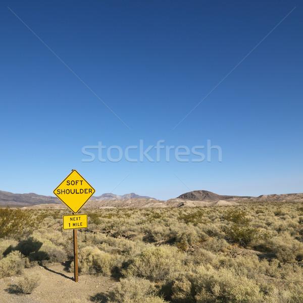 Photo stock: Signe · désert · panneau · routier · soft · épaule · montagnes