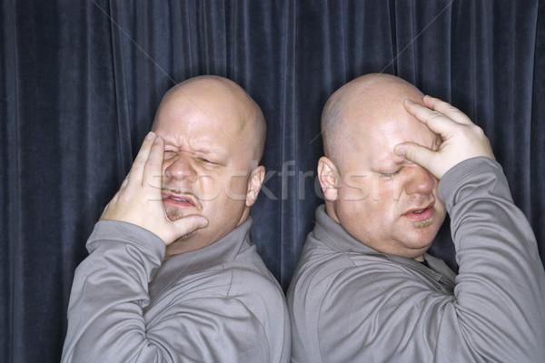 Azonos iker férfiak kaukázusi kopasz áll Stock fotó © iofoto