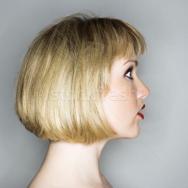 Photo stock: Femme · regarder · étonné · profile · portrait · jeunes