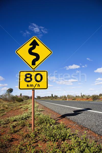 Austrália placa sinalizadora quilômetro por hora limite de velocidade Foto stock © iofoto