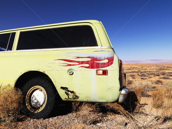 Car with Flames Parked in Desert Stock photo © iofoto