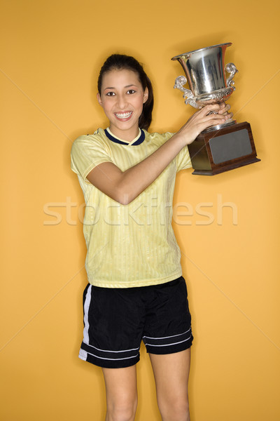 Girl holding trophy. Stock photo © iofoto