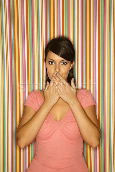 Stockfoto: Vrouw · handen · mond · vrouwelijke · kaukasisch