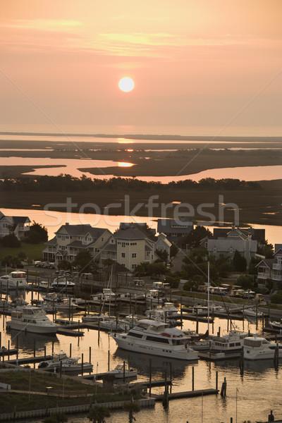 Coastal homes and marina. Stock photo © iofoto