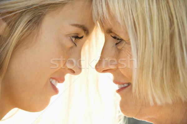 Anya lánygyermek portré fehér anya szemtől szembe Stock fotó © iofoto