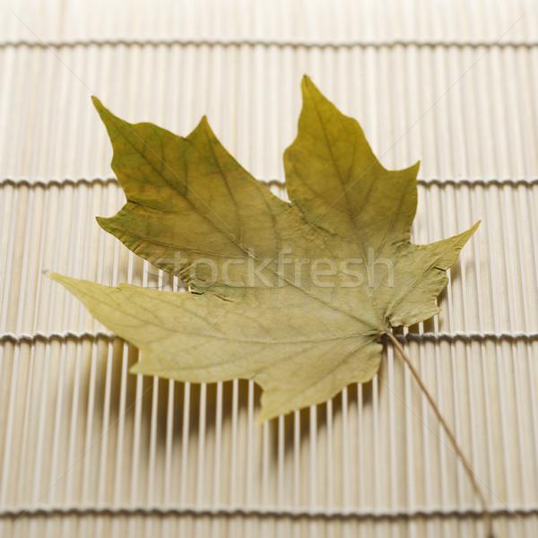 Maple leaf on bamboo mat. Stock photo © iofoto