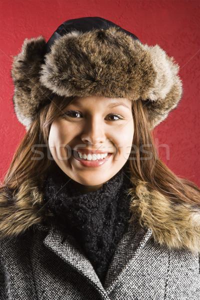 Woman in fur hat. Stock photo © iofoto