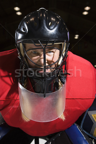 Woman hockey goalie. Stock photo © iofoto