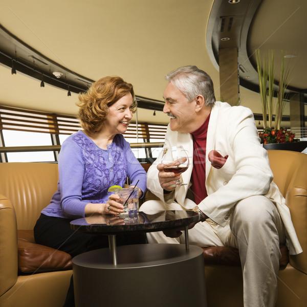 érett pár kaukázusi ül bár társalgó Stock fotó © iofoto