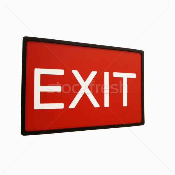 Exit sign rot weiß Zeichen Schreiben Farbe Stock foto © iofoto