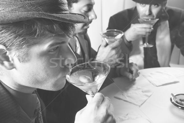 Retro men drinking. Stock photo © iofoto