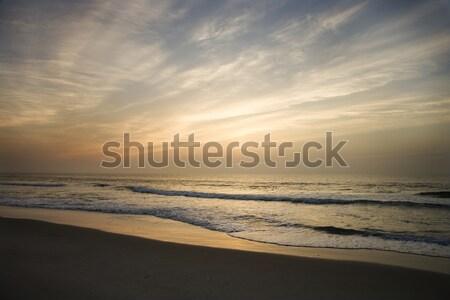 Stockfoto: Strand · zonsondergang · oceaan · golven · wal · golf