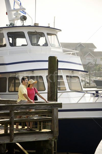 Stock photo: Couple at dock.