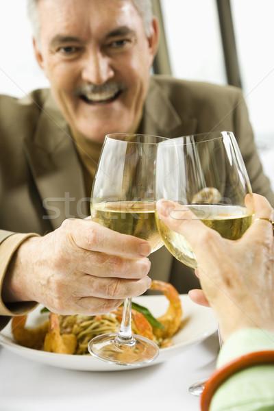 Para dojrzały białe wino Zdjęcia stock © iofoto