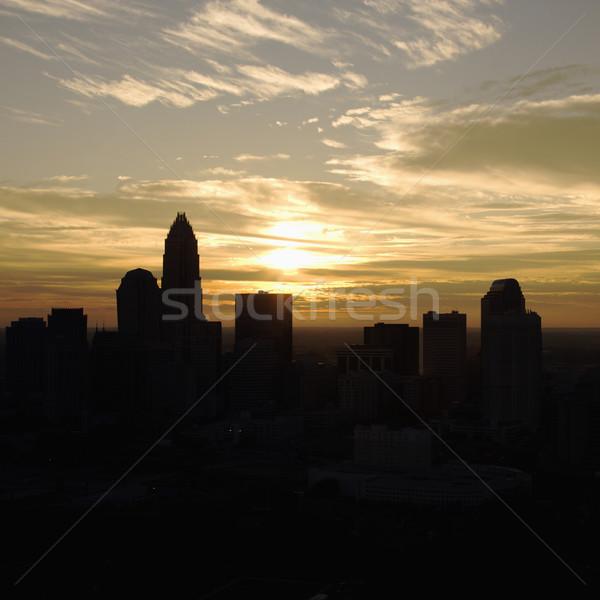 Pôr do sol Carolina do Norte céu edifício Foto stock © iofoto