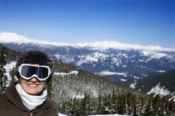 Foto stock: Mujer · esquiador · montanas · caucásico · posando