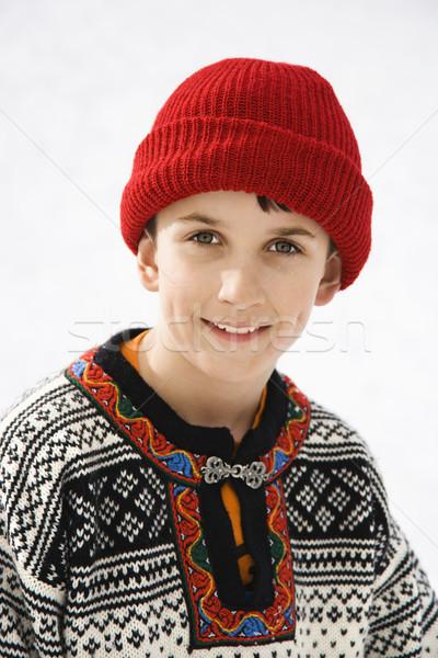 портрет мальчика кавказский свитер красный Сток-фото © iofoto