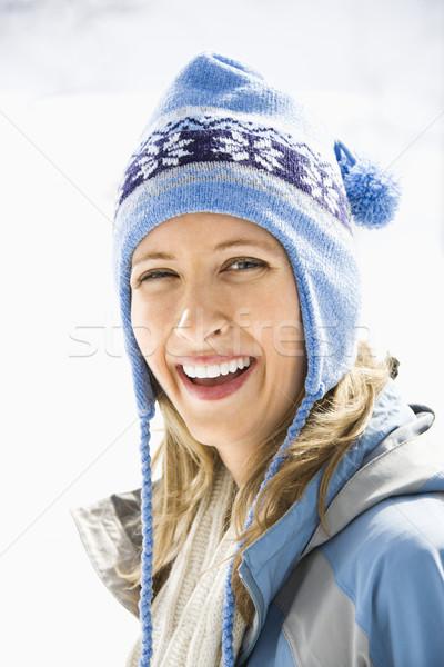 Kobieta narciarskie cap portret atrakcyjny uśmiechnięty Zdjęcia stock © iofoto