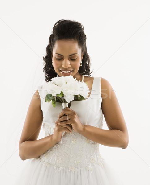 Photo stock: Mariée · bouquet · portrait · femme · femmes