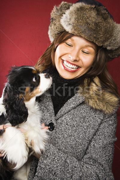 Mulher cão caucasiano Foto stock © iofoto