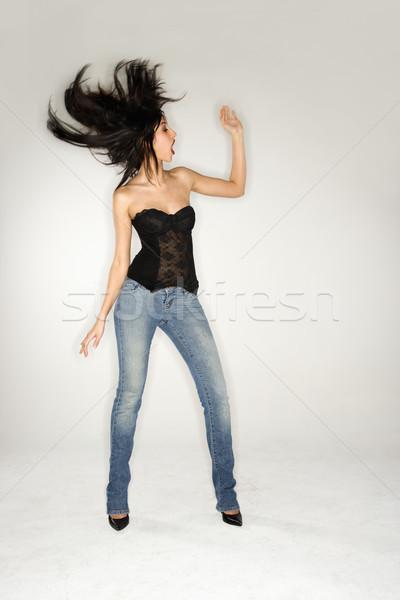 Nő hosszú haj teljes alakos portré csinos fiatal nő Stock fotó © iofoto