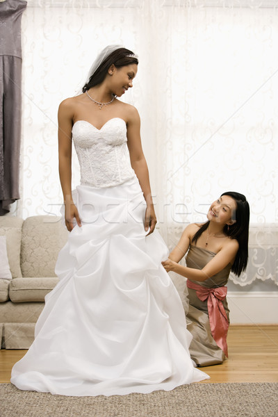 Bridesmaid adjusting bride's dress. Stock photo © iofoto