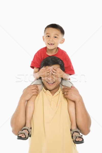 Chłopca plecy asian posiedzenia ręce Zdjęcia stock © iofoto
