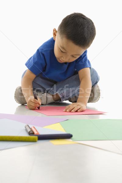 Fiú rajz ázsiai ül padló jókedv Stock fotó © iofoto