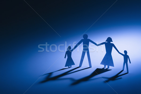 Parents enfants papier famille quatre Photo stock © iofoto