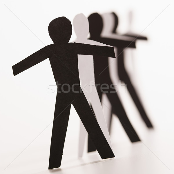 Farklı insanlar birlikte siyah beyaz kâğıt Stok fotoğraf © iofoto