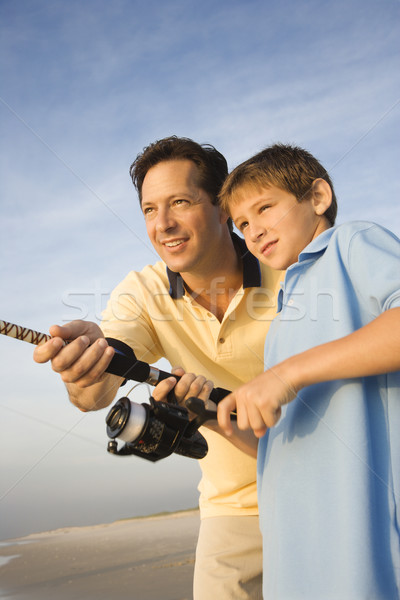 Father and son fishing. Stock photo © iofoto