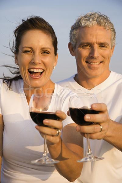 Foto stock: Casal · potável · vinho · feliz · óculos