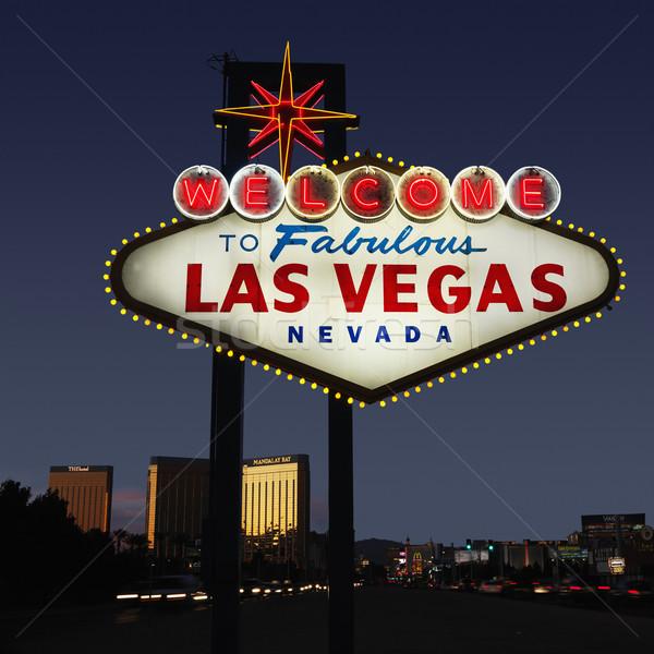 Stok fotoğraf: Las · Vegas · karşılama · imzalamak · Nevada · gece · gökyüzü · binalar