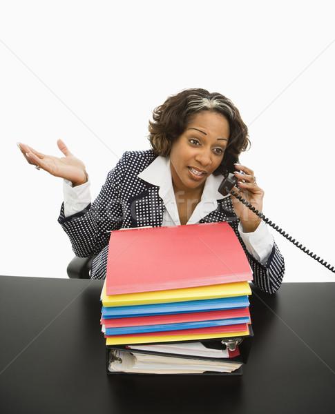 Kadın çalışma ofis işkadını oturma Stok fotoğraf © iofoto